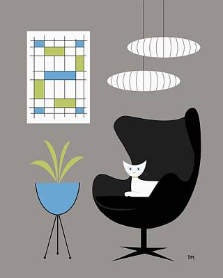 Eames Chair Digital Art - Black Egg Chair by Donna Mibus