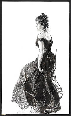 Pen And Ink Drawing Photograph - Black Evening Dress 1901 by Padre Art