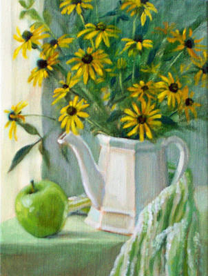 Still Life With Green Apples Painting - Black-eyed Susans by Bonnie Mason