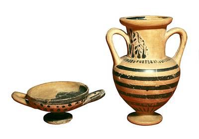 Ceramics Photograph - Black-figure Amphora And Kylix. 6th-5th by Everett