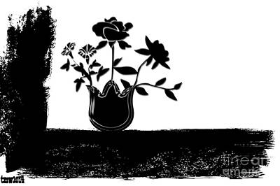 Black Flowers Print by Tina M Wenger