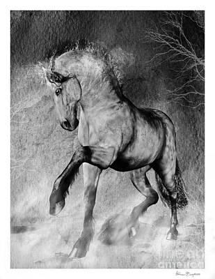 Black And White Horses Digital Art - Black Foot by Shanina Conway