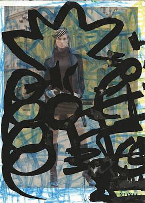 Banksy Drawing - Black Graffiti Blossom Model by Edward X