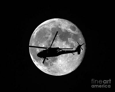 Hawk Digital Art - Black Hawk Moon by Al Powell Photography USA