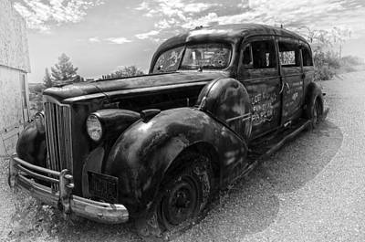 Funeral Photograph - Black Hearse Antique by Dave Dilli