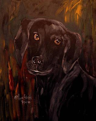 Black Lab Watercolor Painting - Black Lab II by Anna Sandhu Ray