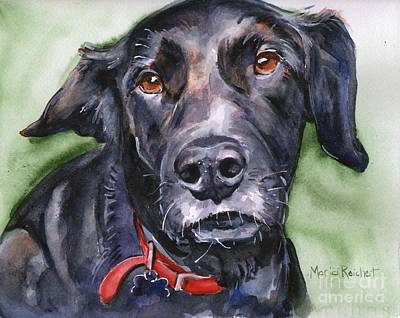 Black Lab Watercolor Painting - Black Lab In Watercolor by Maria's Watercolor