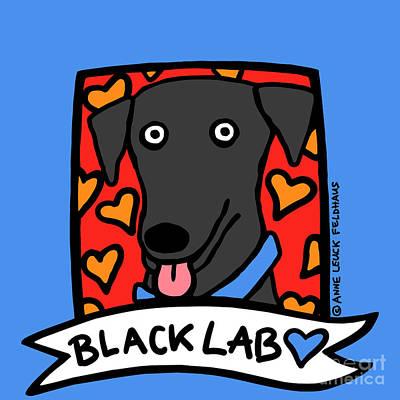 Pet Portraits Digital Art - Black Lab Love by Anne Leuck Feldhaus