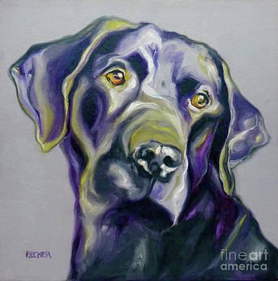 Black Labrador Drawing - Black Lab Prize by Susan A Becker