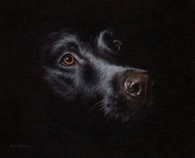 Black Labrador Painting Original by Rachel Stribbling