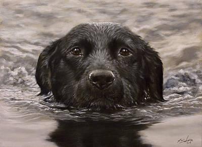 Charcoal Landscape Drawings Painting - Black Labrador Portrait II by John Silver