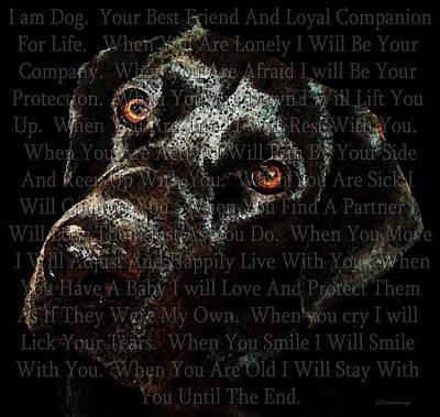 Black Labrador Retriever Dog Art - I Am Dog Print by Sharon Cummings