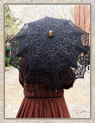 Montana Digital Art - Black Lace Parasol by Kae Cheatham