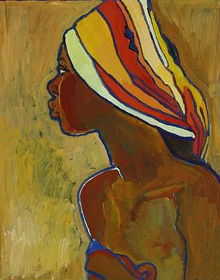 Black Lady With Colorful Head-dress Print by Janet Ashworth