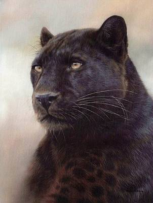 Black Leopard Painting Print by Rachel Stribbling