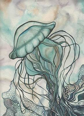 Dots Painting - Black Lung Green Jellyfish by Tamara Phillips