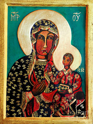 Ikon Painting - Black Madonna Of Czestochowa Icon II by Ryszard Sleczka