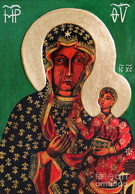 Ikon Painting - Black Madonna Of Czestochowa Icon IIi by Ryszard Sleczka