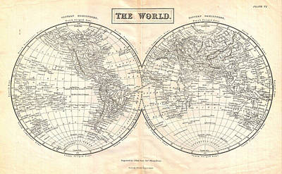 Old Map Painting - Black Map Of The World by Celestial Images