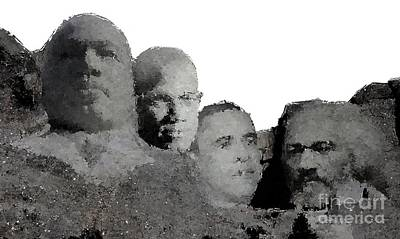 Mount Rushmore Mixed Media - Black Mount Rushmore by Baltzgar