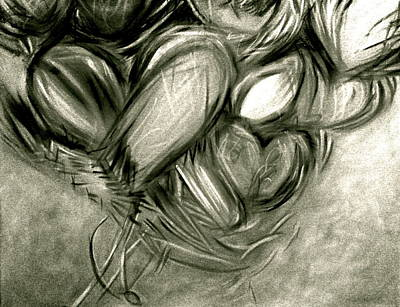 Painting - Black N' White-hearts Soar-thinking Of You by Juliann Sweet