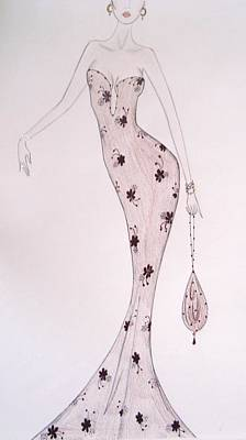 Black Orchid Gown Print by Christine Corretti