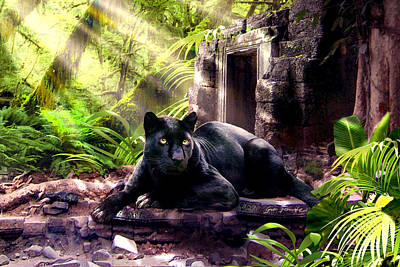 Ruins Painting - Black Panther Custodian Of Ancient Temple Ruins  by Regina Femrite