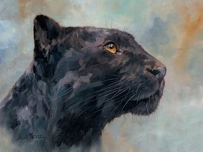 Leopard Painting - Black Panther by David Stribbling