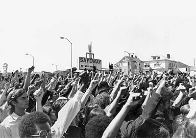 Fist Photograph - Black Panther Rally by Underwood Archives Adler