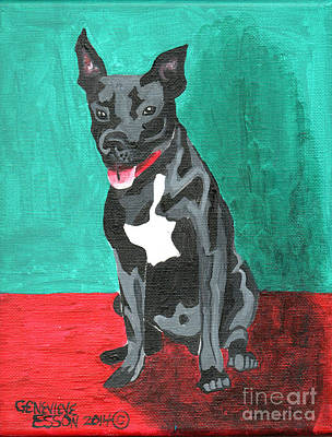 Animal Shelter Painting - Black Pit Bull Terrier by Genevieve Esson