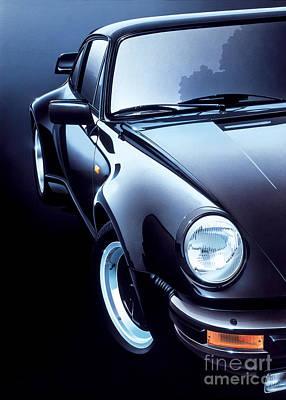 Black Porsche Turbo Print by Gavin Macloud