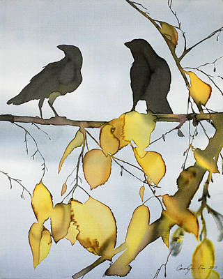 Black Ravens In Birch Print by Carolyn Doe