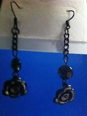 Earrings Jewelry - Black Rose Earrings by Kimberly Johnson