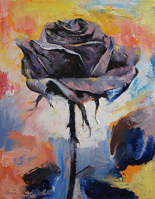Impasto Oil Painting - Black Rose by Michael Creese