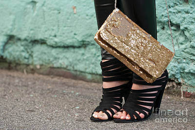 Leather Purses Photograph - Black Shoes Gold Sequins by Rick Piper Photography