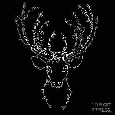 Deer Digital Art - Black Stag by Marion De Lauzun