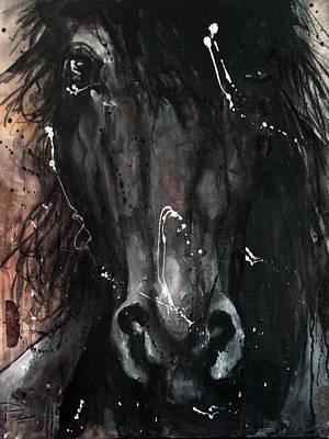Kentucky Derby Mixed Media - Black Stallion by Sean Parnell