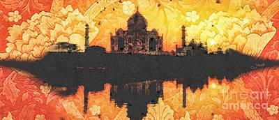 Black Taj Mahal Print by Mo T