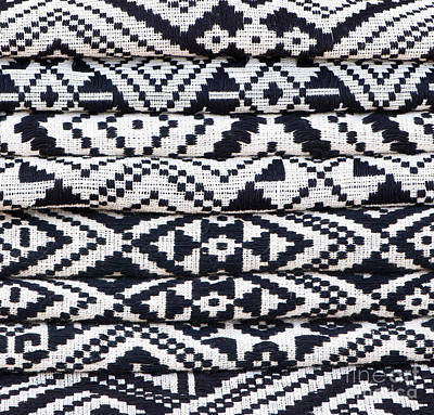 Black Thai Fabric 02 Print by Rick Piper Photography