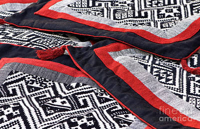 Black Thai Fabric 04 Print by Rick Piper Photography