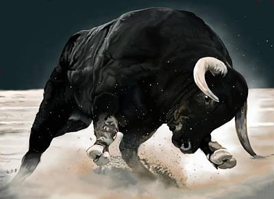 Steer Painting - Black Thunder by Brien Miller