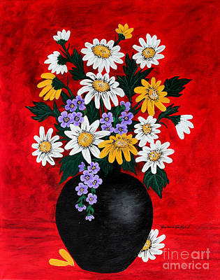 Black Vase With Daisies Original by Barbara Griffin