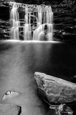 Landscapes Photograph - Black White Blurred Waterfall by Crystal Wightman
