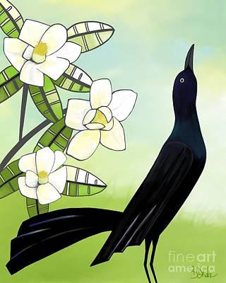 Yellow Beak Painting - Blackbird Under The Magnolia by Barbara Drake