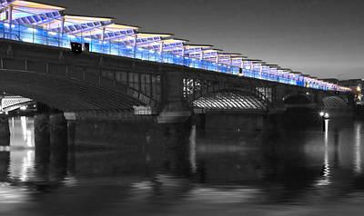 Blackfriars Bridge London Thames At Night  Print by David French