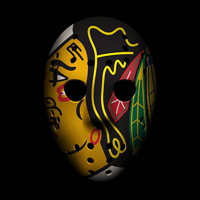 Hockey Sweaters Photograph - Blackhawks Goalie Mask by Joe Hamilton