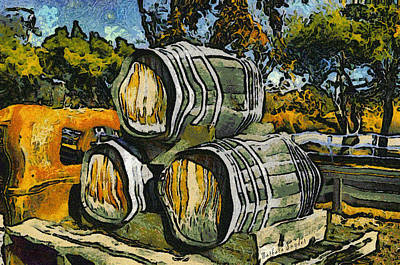 Vineyard Digital Art - Blackjack Winery Wine Barrels by Barbara Snyder