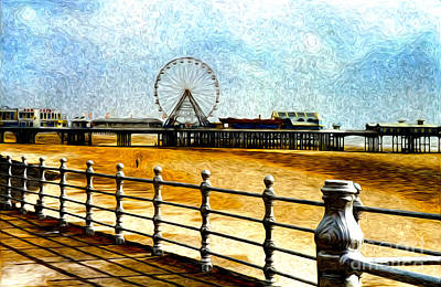 Vintage Photograph - Blackpool Piers by Sabine Jacobs