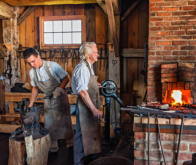 Old Fashioned Photograph - Blacksmith And Apprentice 2 by Steve Harrington