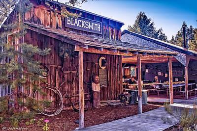 Fire Works Digital Art - Blacksmith Shop Oregon by Bob and Nadine Johnston